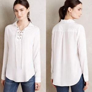 Cloth & Stone White Lace Up Long Sleeve Henley